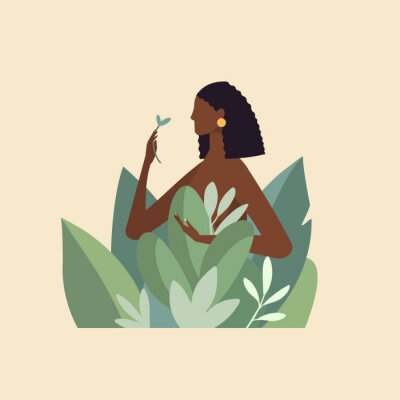 Fototapeta Naked beautiful young woman in big leaves with dark skin and hair. African American girl keep organic green plant. Concept of natural cosmetics for body care and beauty. Illustration in flat design