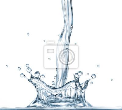 Fototapeta Nalévání vody s korunou stříkající. Boční pohled
