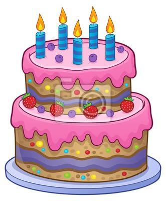 Narozeninový dort s 5 svíčkami fototapeta • fototapety námraza, 5, borůvka  | myloview.cz