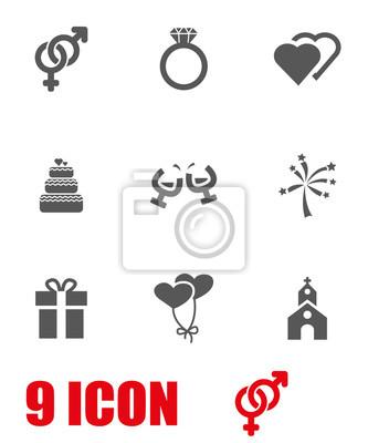 ec83e4b881a Fototapeta nastaven vektor šedá svatební ikona. Svatební Symbol Objekt