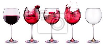 Fototapeta Nastavte od brýle s vínem izolovaných na bílém