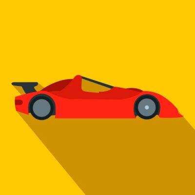 Fototapeta Nepřiměřená rychlost závodní auto plochou ikona