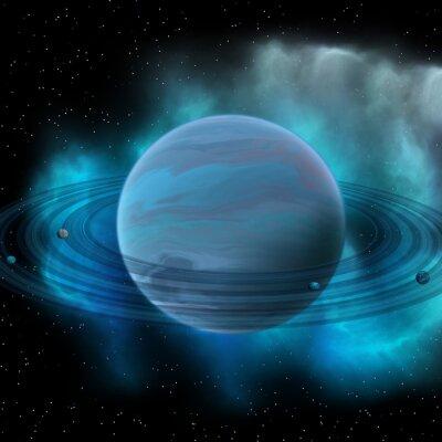 Fototapeta Neptune Planet - Neptun je osm planet v naší sluneční soustavě a má planetární prstence a velkou tmavou skvrnu indikující bouři na svém povrchu.
