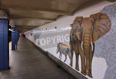 Fototapeta NEW YORK - 6 července: počkat osob na Museum of Natural History stanice metra 6. července 2013 v New Yorku. S 1,67 miliardy ročních jízd, Metro v New Yorku je sedmý nejvytíženější metro systém na svět
