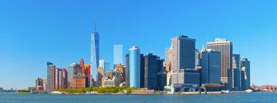 Fototapeta New York City dolní Manhattan Financial District budovy Wall Street panorama na krásný letní den s modrou oblohou