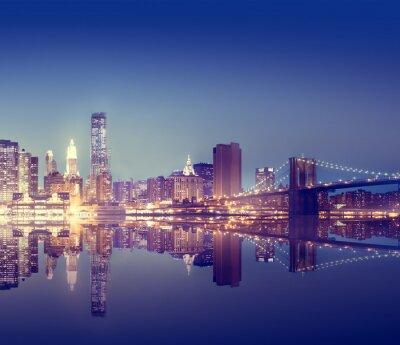 Fototapeta New York City Lights Scenic Bridgeview Concept