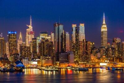 Fototapeta New York City Manhattan midtown buildings skyline night