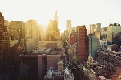 Fototapeta New York City Manhattan panorama pohled na slunci.