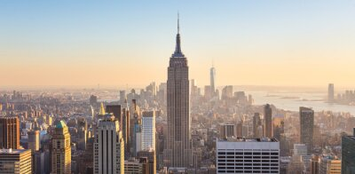 Fototapeta New York City Manhattan panorama v západu slunce.