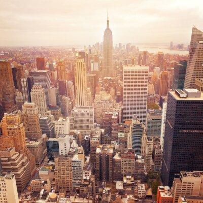 Fototapeta New York City panorama s retro efekt filtru, USA.
