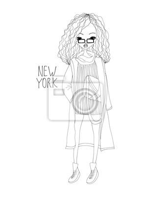 Fototapeta New York Fashion Ilustrace s módní dívka 002a49117d