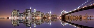 Fototapeta New York panorama a reflexe v noci