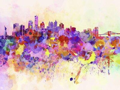 Fototapeta New York panorama v akvarelu pozadí