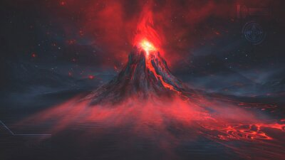 Fototapeta Night fantasy landscape with abstract mountains and island on the water, explosive volcano with burning lava, neon light. Dark Futuristic natural scene with reflection of light in the water. 3D