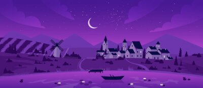 Fototapeta Night town or village by lake landscape vector illustration. Cartoon mountain scenery with moon in purple starry sky, boat on calm lake waters, mill on summer fields and farm houses background
