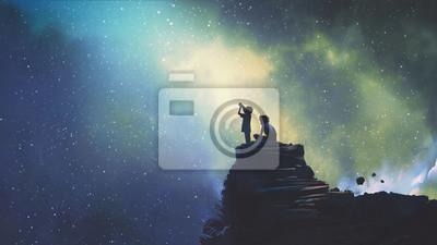 Fototapeta noční scéna ze dvou bratrů venku, llitý chlapec dívá přes dalekohled na hvězdy na obloze, digitální umělecký styl, ilustrace malování