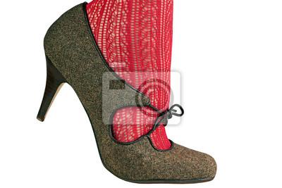 48b27e1df66 Noha žen v červené punčocháče s retro boty fototapeta • fototapety ...