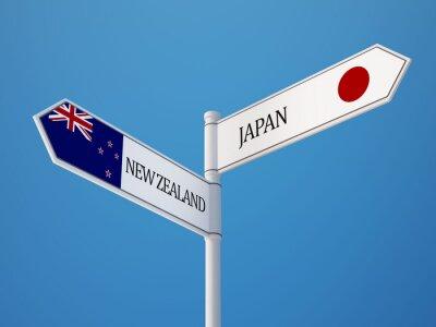 Nový Zéland Japonsko Registrujte Vlajky Concept