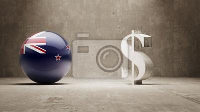 Nový Zéland. Peníze Sign koncept.