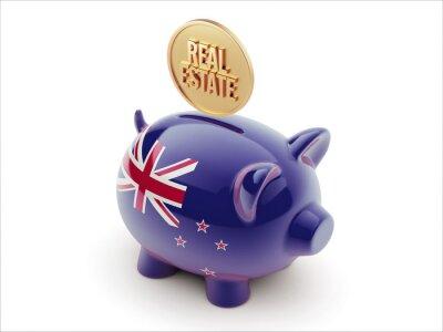 Nový Zéland Real Estate Concept Concept Piggy