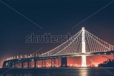 Fototapeta Oakland Bay Bridge v noci. San Francisco - Oakland, Kalifornie, Spojené státy.