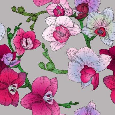 Fototapeta obratník květinový vzor bezešvé s rukou kreslení květy orchidejí