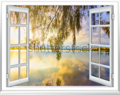 Fototapeta Ocean view ráj z okna na ostrově slunečného letního dne
