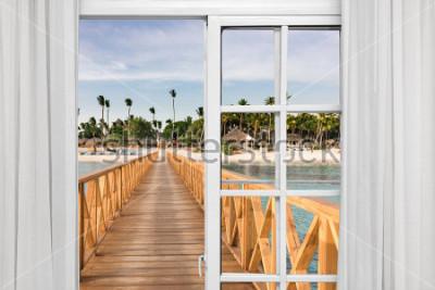 Fototapeta okno otevřený pohled na altán v moři