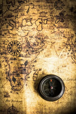 Fototapeta old map with compass