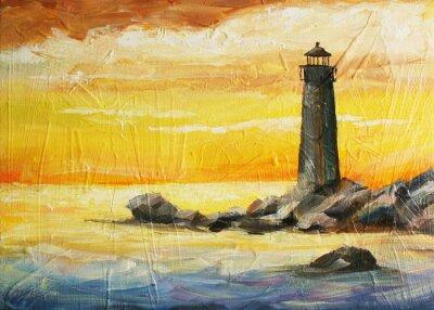 Olej Malovany Obraz S Vyhledem Na More Zapad Slunce A Majak