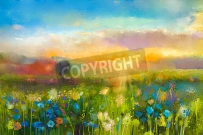 Fototapeta Olejomalba květiny pampeliška, chrpa, sedmikráska na polích. Západ slunce louka krajiny s wildflower, kopce a obloha v oranžové a modré barvy pozadí. Hand Paint léto květinový Impressionist styl