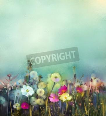 Fototapeta Olejomalba květiny pampeliška, mák, sedmikráska na polích. Ruční pole Paint Květy v létě louce. Jaro květinové sezónnosti s modrým - zelená v měkké barvy pozadí.