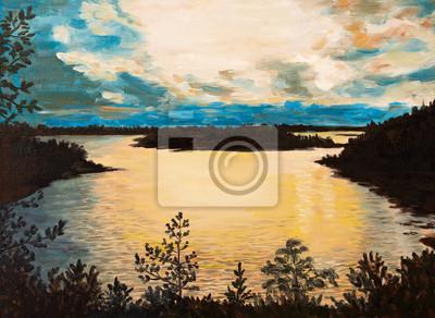 Olejomalba Na Platne Zapad Slunce Na Jezere Abstraktni Kresba