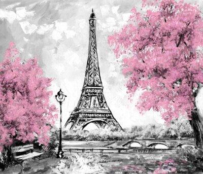 Fototapeta Olejomalba, Paris. Evropská městskou krajinu. Francie, tapety, Eiffelova věž. Černá, bílá a růžová, Moderní umění