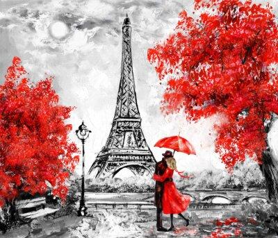 Fototapeta Olejomalba, Paříž. Evropská městská krajina. Francie, tapety, eiffelova věž. Černá, bílá a červená, Moderní umění. Pár pod deštníkem na ulici