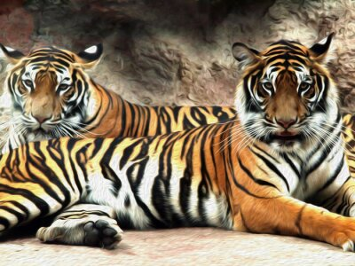 Fototapeta Olejomalba Tiger / foto efekt olejomalba