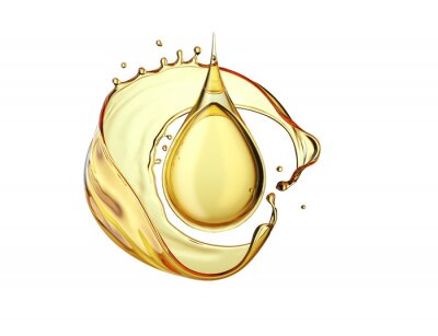 Fototapeta Olive or engine oil splash and drop isolated on white background, 3d illustration with Clipping path.