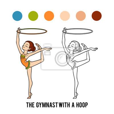 Omalovanka Gymnastka S Obrucem Fototapeta Fototapety Oblek