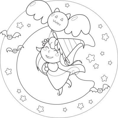 Fototapeta Omalovánky Halloween čarodějnice létání s bublině ve moolight