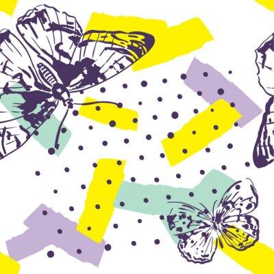 Fototapeta Opakovaný vzorek s hmyzem. Moderní vzorek s motýly v ručně kresleném stylu. Pozadí pro textil, výrobu, knižní obaly, tapety, tiskový nebo dárkový obal.