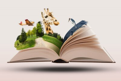 Fototapeta Open Novel Book with Animals and Landscapes