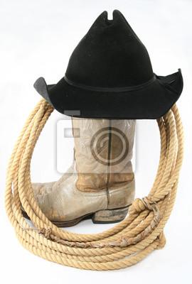 Fototapeta Opotřebované kovbojské boty s lanem a klobouk boční pohled c1afdcc913