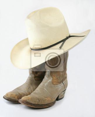 Opotřebované kovbojské boty s slaměný klobouk fototapeta ... be72e21527