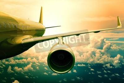 Fototapeta osobní tryskové letadlo flyin nad cloud scape použití pro přepravu letadel a cestující obchodní pozadí