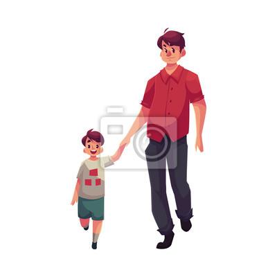 Otec A Syn Spolecne Chuze Kresleny Vektorove Ilustrace Na Bilem