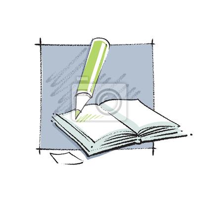 Otevrena Kniha Ikonu S Tuzkou Jednoducha Linearni Kresba
