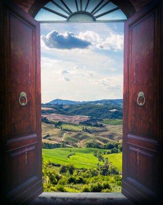 Fototapeta Otevřené dveře a krajiny