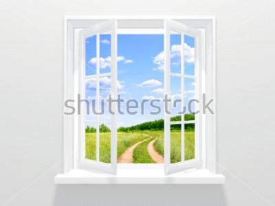 Fototapeta Otevřené okno a staré silnici