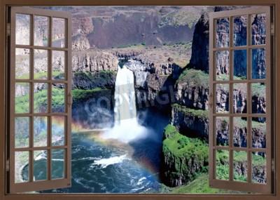 Fototapeta Otevřené okno pohled k vodopádu