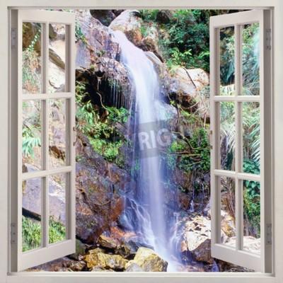 Fototapeta Otevřené okno pohled na malé vodní kaskády